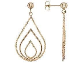 10K yellow gold dangle teardrop shape earrings
