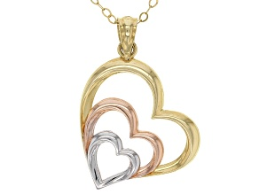 14k Gold & White & Rose Rhodium Over Yellow Gold Tri-Tone Heart Pendant With 18 Inch Rope Chain