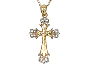 14k & White Rhodium Over 14K Yellow Gold Two-Tone Cross Pendant With 18