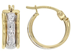 14K Yellow Gold &  White Rhodium Over 14k Yellow Gold Two-Tone Huggie Hoop Earrings