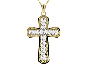 10K Gold Two-Tone Diamond Cut Faceted Cross Pendant With Chain 18 Inch