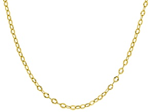 10K Hollow Round Flat Rolo Chain 20 Inch