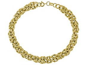 14K Polished Textured Byzantine Bracelet 8 Inch