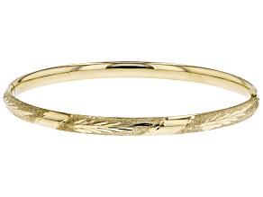 14K Diamond Cut Lazer Leaf Bangle Bracelet