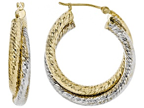 14K Gold Two-Tone Polished Diamond Cut Double Interlock Tube Round Hoop Earrings