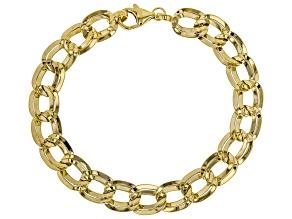 14K Yellow Gold Polished Alternate Curb Station Bracelet 7.5 Inch