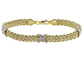 14K Yellow Gold .015CTW Round White Diamond Polished Rope Triple X Bracelet 7.5 Inch