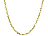 14K Yellow Gold Polished Diamond Cut Rope Chain Neckalace 18 Inch