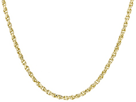 14k Yellow Gold Polished Diamond Cut Rope Chain Necklace 20 Inch