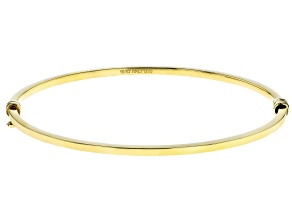 10K Yellow Gold Diamond Cut Oval Bangle Bracelet 7.5 Inch