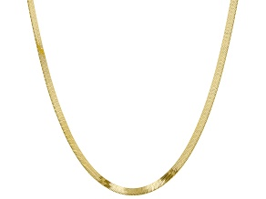 14K Yellow Gold 2.2MM Polished Herringbone Necklace 18 Inch