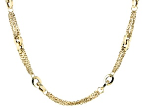 14K Yellow Gold Multi Strand Rolo Link Station Necklace 18 Inch