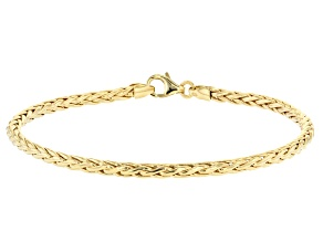 10K Yellow Gold Round Hollow Wheat Link Bracelet 7.5 Inch