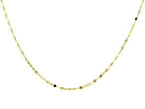 14K Yellow Gold 1MM Mirror Link Chain Necklace 18 Inch