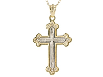 30mm x 19mm with 18 Rolo Chain 14K Two-Tone Gold Religious Crucifix Charm Pendant