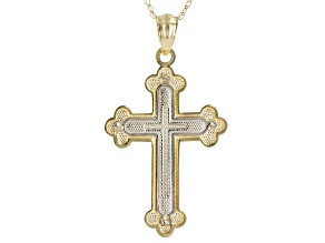 14K Two Tone Cross Pendant With Cable Link Chain 18 Inch