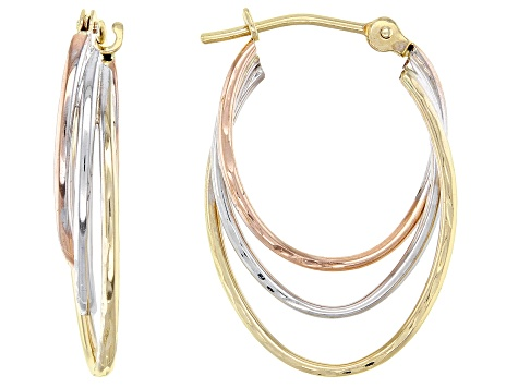 14k Tri-Color 11MM Triple Hoop Earrings