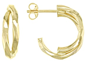 14K Yellow Gold 12MM Hammered Half Double Hoop Earrings