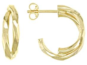 14K Yellow Gold 12MM Hammered Half Double Hoop Earrings