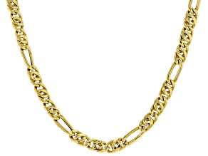 10KT Yellow Gold Figaro Link Necklace 22