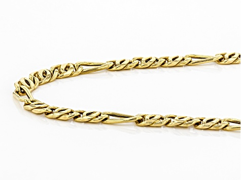 10K Yellow Gold Figaro Link Necklace 22 Inches