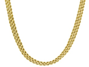10K Yellow Gold Multi-Row 6.20MM Twisted Weave Necklace 18 Inches