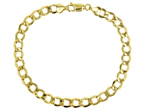 10K Yellow Gold Polished 6.5MM Lightweight Curb Bracelet 8.5 Inch