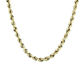 10K Yellow Gold 5MM Hollow Polished Rope Necklace 26 Inch