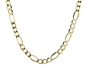 14K Yellow Gold 7.2MM Polished Lightweight Figaro Necklace 26 Inch