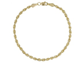 14K Yellow Gold Hollow Rope Chain Bracelet