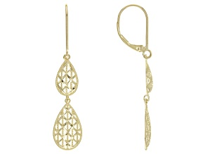 10KT Yellow Gold Graduated Pear Shaped Drop Earrings.