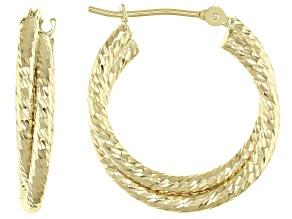 14K Yellow Gold Double Tube Hoop Earrings