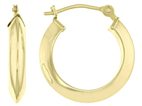 14K Polished Triangular Tube Hoop Earrings