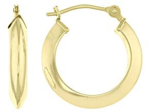 14KT Polished Triangular Tube Hoop Earrings