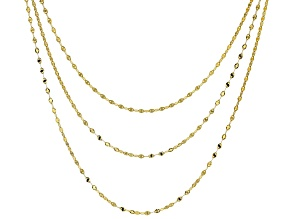 10KT Solid Multi-Row Mirror Link Necklace 18