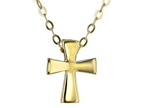 10K Yellow Gold Polished Cross Pendant With Chain Necklace 17 Inch