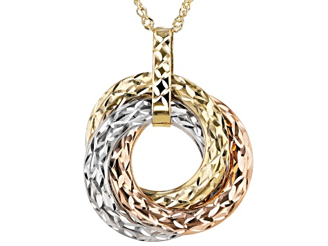 14K Gold Three-Tone Love Knot Pendant With Chain