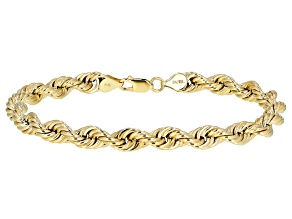 10K Yellow Gold Hollow Rope Bracelet 9 Inches
