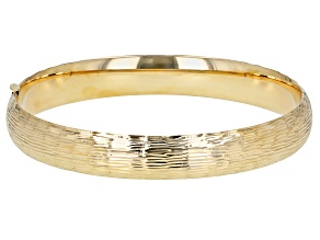 14K Yellow Gold Lined Cut Design Hinged Bracelet 7 Inches