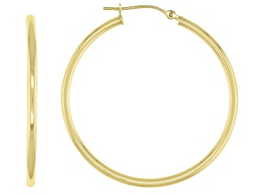 14K Yellow Gold Polished Round Tube 35MM Hoop Earrings