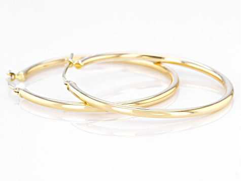 High Polished, 14k White Gold 2mm Thick Round Tube Hoop Earrings 25mm