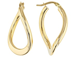 14K Yellow Gold Polished Curved Oval Hoop Earrings