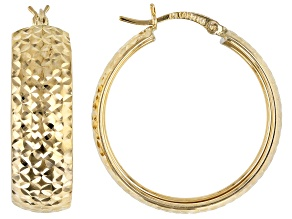 14K Yellow Gold Diamond Cut Round 29MM Hoop Earrings