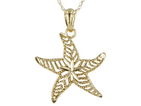 10K Yellow Gold Charm Starfish Pendant With 18