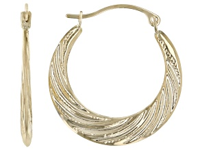 10K Yellow Gold Swirl Hoop Earrings