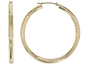14K Yellow Gold Small Leaf Detail Hoop Earrings