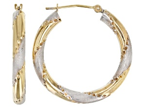 14K Yellow Gold Two-Tone Hoop Earrings