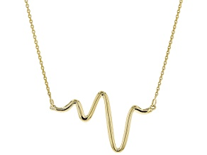 10K Yellow Gold Heartbeat Cable Chain 17 Inch with 1 Inch Extender Necklace