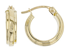 14K Yellow Gold 9.7MM Raised Center Small Tube Hoop Earrings