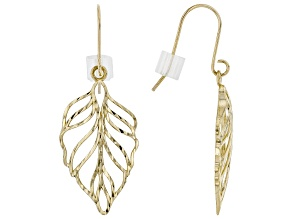 10K Yellow Gold Diamond-Cut Dangle Leaf Earrings